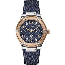 Guess Donna Orologio Watch Woman Jet Setter W0289L1 Pelle Jeans Multifunzione