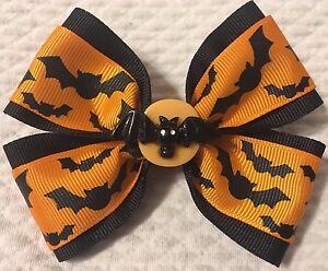 "Girls Hair Bow 4"" Wide Halloween Orange Ribbon Bats Flatback French Barrette"
