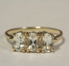 14k yellow gold  3-stone oval aquamarine gemstone womens ring 2.3g estate