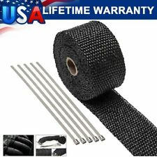 "2"" ROLL Motorcycle Black Fiberglass Exhaust Header Pipe Heat Wrap Tape+ Ties Kit"
