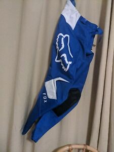 Fox Racing 180 Prix Pants Blue/White Size 30 With Hip Pads
