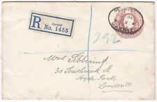 # 1907 3d POSTAL STATIONERY ENV REGISTERED CARDIFF EARLY ETIQUETTE MAR 19 LONDON