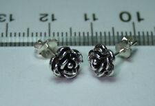 Sterling Silver 7mm Petite Rose Stud Earrings Pair 925 New