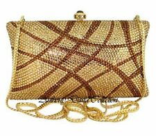 Anthony David Gold & Bronze Crystal Clutch Evening Bag with Swarovski Crystals