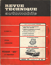 REVUE TECHNIQUE SPECIAL CARBURATION/PEUGEOT 504 A INJECTION  N°285