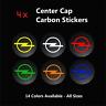 4x OPEL Racing Badge CARBON Center Caps Alloy Rim Wheel Stickers Opc Astra Corsa