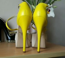 river island amazing beige and neon yellow shoes size 6 / 39