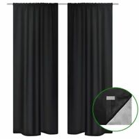 vidaXL 2x Tenda Termica Oscurante Foderata Nera Blackout 140x245 cm Tendaggio