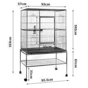 163CM Large Pet Cage Bird Parrot Aviary Stand-alone Budgie Perch Castor Wheels