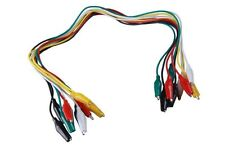 Alligator Crocodile Clip Test Leads Set 10 Coloured Cable Wire Double End Jumper