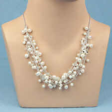 NEW Ladies  White Pearl Multi Layer Necklace Statement Bib Beaded Vintage Chunky