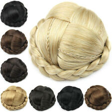 Women Ladies Clip In Hair Bun Synthetic Chignon Donut Roller Hair Extensions New