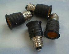 FOUR Adapters to Use E12 Candelabra Light Bulbs in E10 miniature fixture base