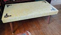 MID-CENTURY MODERN MOSAIC TILE COFFEE TABLE 32X16 VTG WOOD LEGS GERBER YELLOW