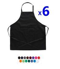 6X Plain Black Apron Cotton Washable Kitchen Chef Cooking Butchers Craft Pocket