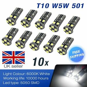 10x W5W 168 T10 LED 8 SMD White Canbus Side Indicator Number Plate Light Bulbs