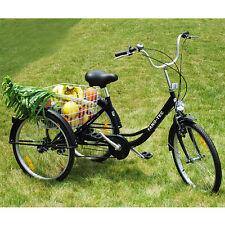 """24"""" Dreirad für Erwachsene Schwarz Einkaufs -Dreirad Seniorenrad Senioren Farrad"""