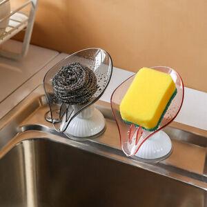 Self-Draining Bathroom Soap Dish Sponge Case Holder Box Stand Leaf Shape⭐