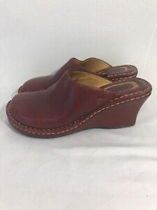 Born Burgundy Leather Slip-On Mule Clog Shoes Women's Size 7M