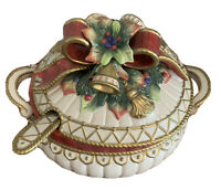 RETIRED CHRISTMAS DEER Collection By Fitz & Floyd Tureen, Lid And Matching Ladle