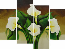 Large 4 Panel Canvas Picture Lillies Floral Lily Abstract Canvas Pictures Prints