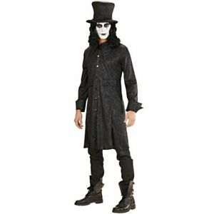 Deluxe Raven King Costume Mens Gothic Halloween Fancy Dress Outfit Top Hat