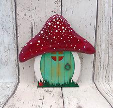 Hand Made Teal Fairy door Hobbit/Elf Doors for Garden/Outside Hand Carved Top