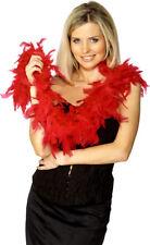 Rojo Boa de plumas mujer Rocky Horror Accesorio de Disfraz 50g 150cm
