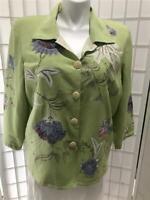 Women's Allure Vintage XL  Tea Green Floral Embroidered Button Up Blazer/Jacket