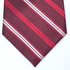 JHANE BARNES 100% Silk Tie Designer Geometric Striped Red White Men's Necktie