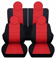 Fits 2016-2019 Kia Picanto  front set car seat covers    black and orange