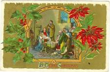 Nativity Scene embossed used postcard 1910 Dpo