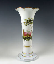 18th/19th Century Antique Opalescent Hand Enamel Flint Glass Tall Vase 12""