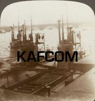 British Submarines on the Thames - The Latest Types. Rare Underwood Stereoview