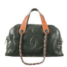 CHANEL Dark Green Iridescent Calfskin In The Mix Bowler Bag