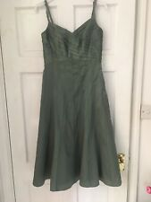 Monsoon Size 8 Green Silk Mix Ladies Dress