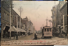 CIGAR STORE Trolley SAN DIEGO, CAL. M. Rieder Hand Colored Post Card '06 Street