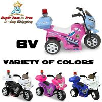 Kids Realistic Police Tricycle Motor Bike Trike Girls Boys Ride On Toy Gift 6V