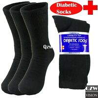 3 6 12 Mens Womens Crew Cotton Diabetic Socks For Health Circulatory Black 9-15