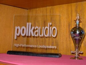 POLK AUDIO ETCHED GLASS SIGN W/BLACK OAK BASE