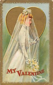 G47/ Valentine's Day Love Holiday Postcard c1910 Bride Heart Vail 23