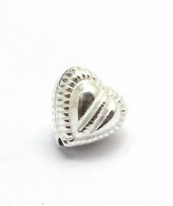 26 PCS 10MM HEART SPACER BEAD STERLING SILVER PLATED 645 KNJ-344