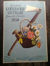 AFFICHE ANCIENNE DEUTSCHE GARTENSCHAU STUTTGART 1950 ALLEMAGNE RUTH