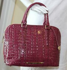 Brahmin Vivian Dome Satchel Genuine Leather H82626YY ~$325_Boysenberry La Scala