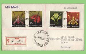 Papua New Guinea 1971 Flowers on registered 'Kokoda' cover to Germany