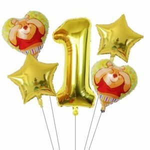 1set Winnie the Pooh Foil Number Balloon Happy birthday decorations air balloons