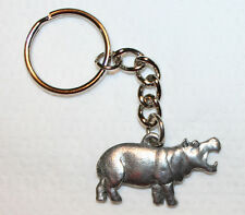 HIPPOPOTAMUS Hippo Fine Pewter Keychain Key Chain Ring Fob USA Made