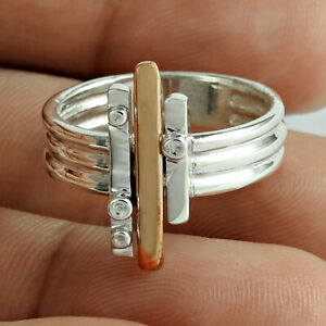 HANDMADE Jewelry 925 Solid Sterling Silver Gold silver platinum Ring Size 10 R65