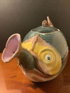 Victorian Majolica Novelty Fish Teapot