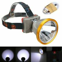 Super Bright Waterproof Head Torch/Headlight LED USB Rechargeable Headlamp Work